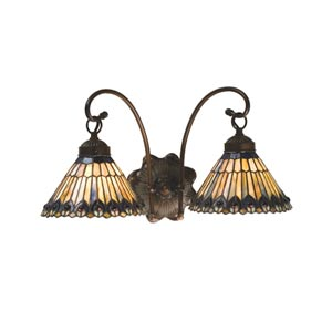 18-Inch Tiffany Jeweled Peacock Two-Light Wall Sconce