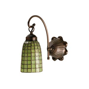 6-Inch Green Geometric One-Light Sconce