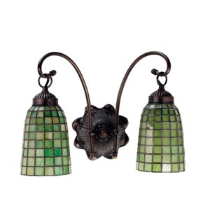 14.5-Inch Green Geometric Two-Light Sconce