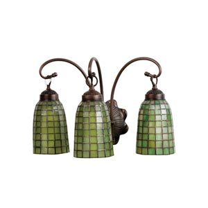 18-Inch Green Geometric Three-Light Bath Fixture