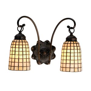 14.5-Inch Beige Geometric Two-Light Sconce