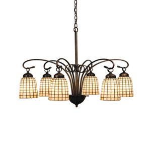 27.5-Inch Beige Geometric 6-Light Chandelier