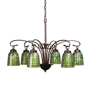 27.5-Inch Green Geometric 6-Light Chandelier