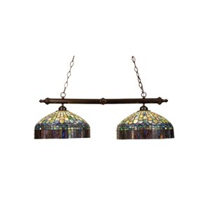 39-Inch Tiffany Candice Two-Light Island Pendant