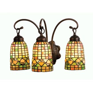 18-Inch Autumn Tiffany Acorn Three-Light Bath Fixture
