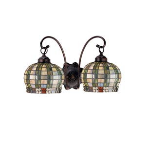 17-Inch Jeweled Basket Two-Light Wall Sconce