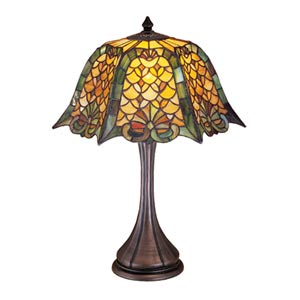 21-Inch Duffner and Kimberly Shell and Diamond Table Lamp
