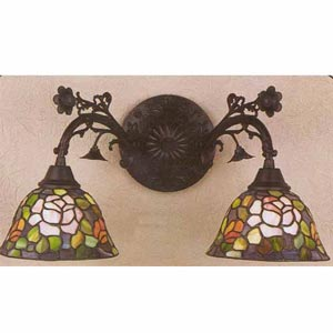 Double Rosebowl Tiffany Wall Sconce