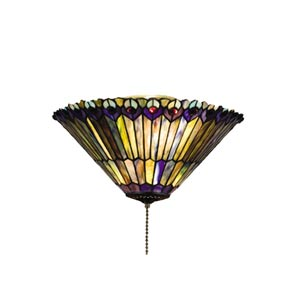 17-Inch Tiffany Jeweled Peacock Flush Mount