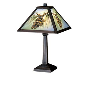 16-Inch Pinecone Reverse Painted Accent Lamp
