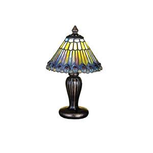 12-Inch Tiffany Jeweled Peacock Mini Lamp