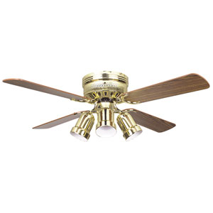 Heritage Fusion Polished Brass 52-Inch Hugger Ceiling Fan