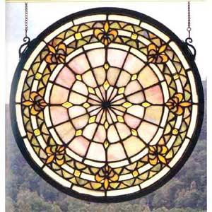 Fleur-de-lis Small Art Glass Window