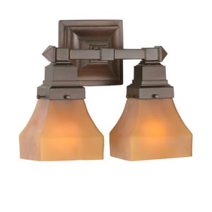 13-Inch Amber Bungalow Two-Light Wall Sconce