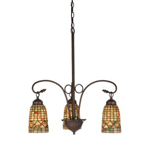 20.5-Inch Autumn Tiffany Acorn Three-Light Chandelier