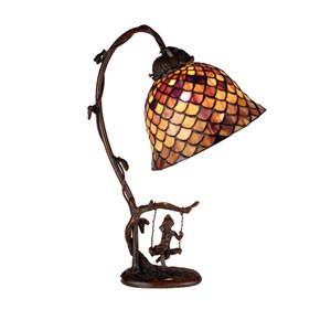 15-Inch Tiffany Fishscale Accent Lamp
