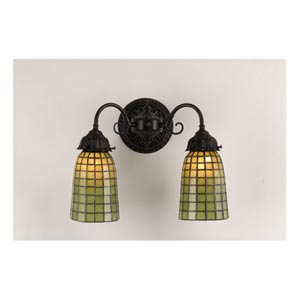 14.5-Inch Geometric Green Two-Light Wall Sconce