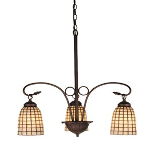 24.5-Inch Beige Geometric Three-Light Chandelier