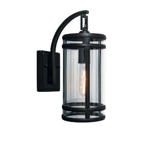 New Yorker Acid Dipped Black Six-Inch One-Light Outdoor Wall Mount