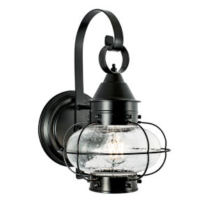 Cottage Onion Black Eight-Inch One-Light Outdoor Wall Sconce
