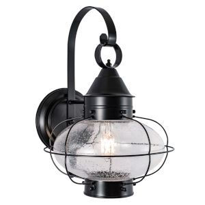 Cottage Onion Black 11-Inch One-Light Outdoor Wall Sconce