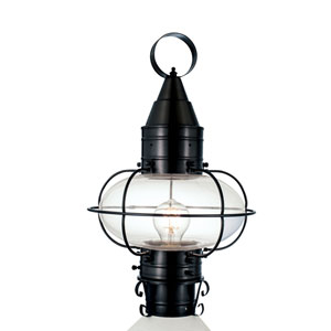 Classic Onion Black One-Light Outdoor Post