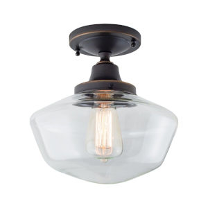 Schoolhouse Oil Rubbed Bronze 10-Inch One-Light Semi Flush Mount