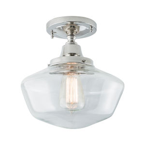 Schoolhouse Polished Nickel 10-Inch One-Light Semi Flush Mount