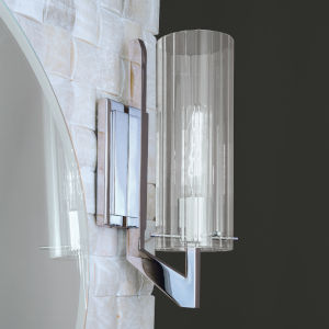 Faceted Chrome One-Light Wall Sconce
