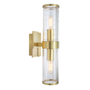 Stripe Satin Brass Two-Light 15-Inch Wall Sconce