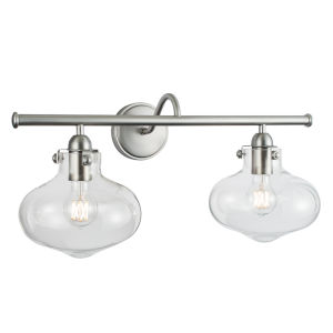 Clara Brushed Nickel 23-Inch Two-Light Wall Sconce