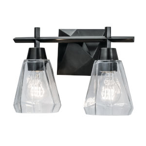 Arctic Acid Dipped Black Two-Light Wall Sconce