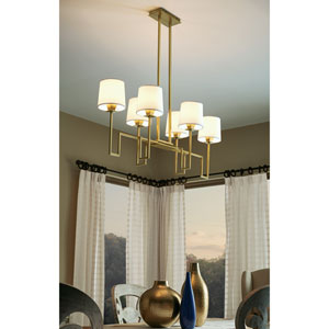Maya Aged Brass Six-Light Geometric Chandelier