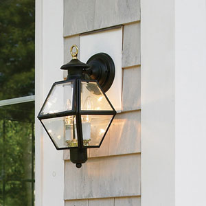 Olde Colony Black Two-Light Outdoor Wall Lantern