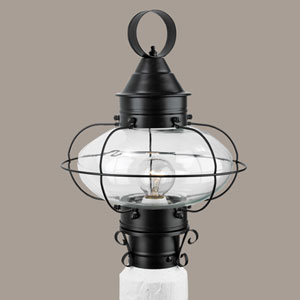 Cottage Onion Black Single Light Outdoor Medium Post Mount