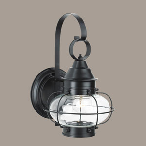 Cottage Onion Black Single Light Outdoor Small Wall Mount