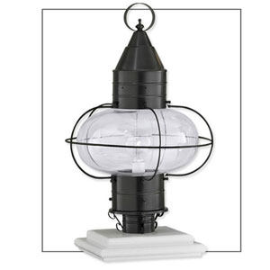 Classic Onion Black Single Light Outdoor Large Post Mount w/Clear Glass