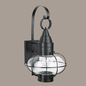 Classic Onion Black Single Light Outdoor Medium Wall Mount