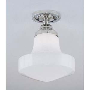 Schoolhouse Polished Nickel Single Light Flush Mount