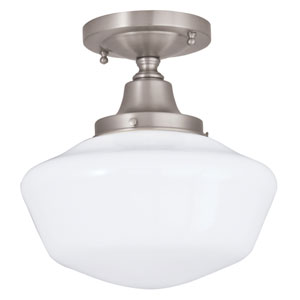 Schoolhouse Brushed Nickel One-Light Semi-Flush Mount