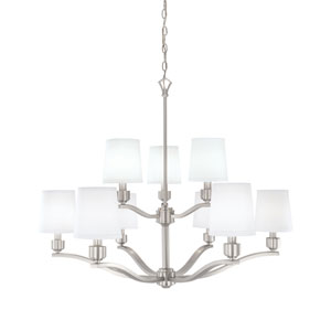 Roule Brushed Nickel Nine-Light Chandelier