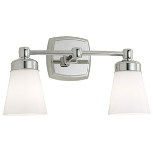 Soft Square Chrome Two-Light Wall Sconce