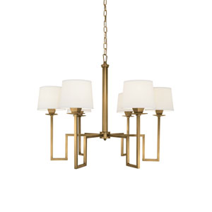 Maya Aged Brass Six-Light Chandelier