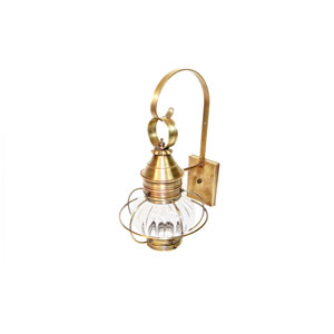Onion Antique Brass One-Light 10-Inch Outdoor Wall Mount with Optic Glass