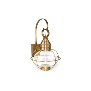 Onion Antique Brass 12-Inch One-Light Outdoor Wall Sconce with Clear Glass
