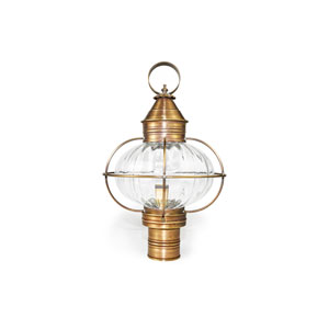 Onion Antique Brass One-Light Outdoor Post Mount with Optic Glass