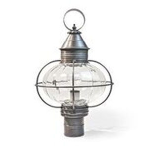 Onion Dark Brass One-Light Outdoor Post Mount with Optic Glass