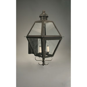Boston Verdi Gris 10.5-Inch Two-Light Outdoor Wall Sconce with Clear Glass