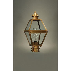 Boston Antique Brass One-Light Outdoor Post Mount with Chimney Clear Glass