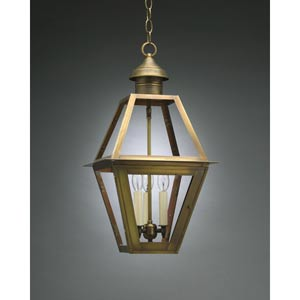 Boston Antique Brass Three-Light Outdoor Pendant with Clear Glass